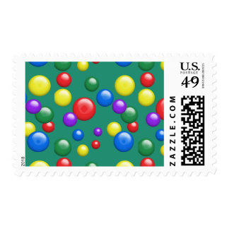 Multicolored Gumballs on Green Postage Stamp