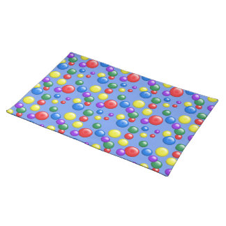Multicolored Gumballs on Light Blue Cloth Placemat