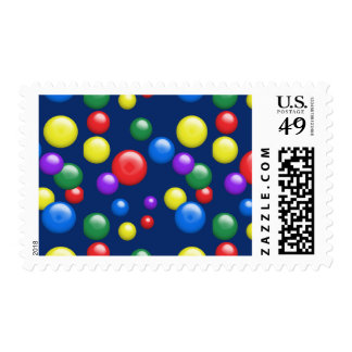 Multicolored Gumballs on Navy Postage Stamp