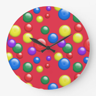 Multicolored Gumballs on Red Large Clock