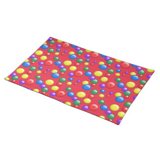 Multicolored Gumballs on Red Placemat