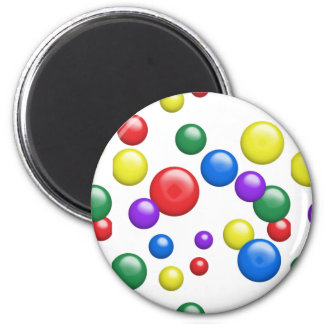 Multicolored Gumballs on White 2 Inch Round Magnet