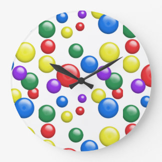 Multicolored Gumballs on White Large Clock