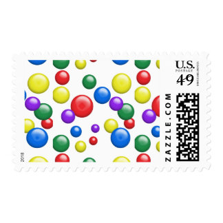 Multicolored Gumballs on White Postage
