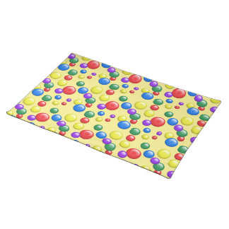 Multicolored Gumballs on Yellow Placemat