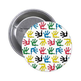 Multicolored handprints pattern 2 inch round button