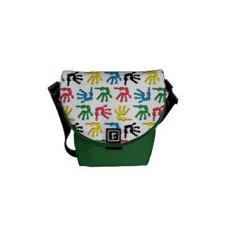 Multicolored handprints pattern courier bag
