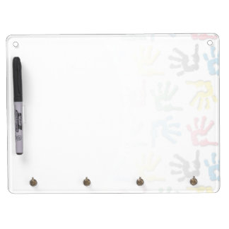 Multicolored handprints pattern dry erase whiteboard