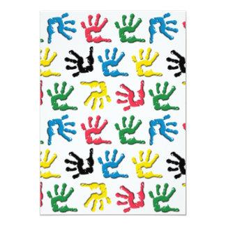 Multicolored handprints pattern 5x7 paper invitation card