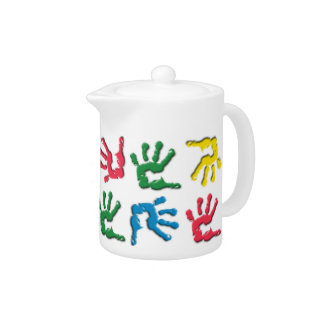 Multicolored handprints pattern teapot