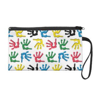 Multicolored handprints pattern wristlet