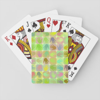 Multicolored hands pattern card deck