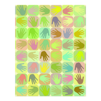 Multicolored hands pattern flyer