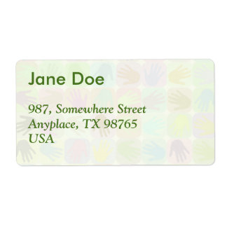 Multicolored hands pattern shipping label
