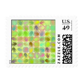 Multicolored hands pattern stamps
