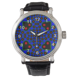 Multicolored hearth and circle art wristwatches