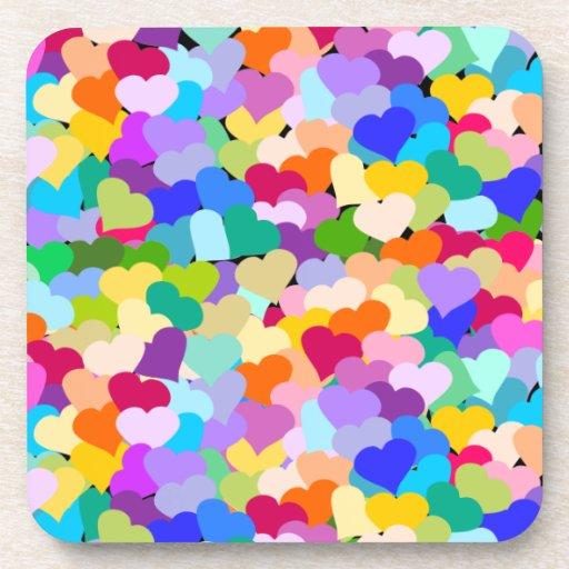 Multicolored Hearts Confetti Drink Coaster