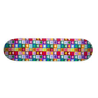Multicolored Hearts Girls Skateboard
