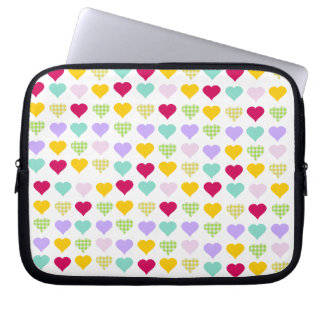 Multicolored hearts laptop sleeve