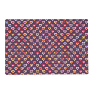 Multicolored hearts placemat