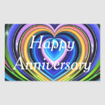 "multicolored hearts rectangular sticker<br><div class=""desc"">A decorative design digitally created to decorate the wrapping of a gift for a special anniversary</div>"