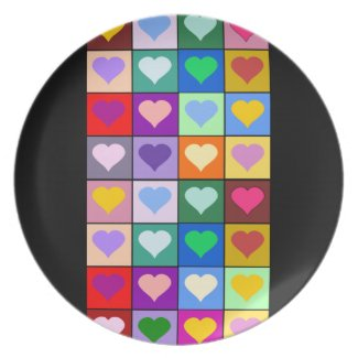 Multicolored Hearts Tiled Design Plate plate