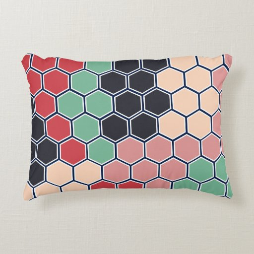 Multicolored Hexagons Modern Pattern Decorative Pillow Zazzle