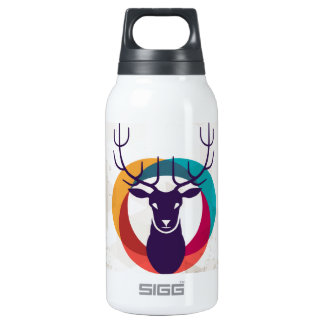 Multicolored Hipster Deer Gear Insulated Water Bottle