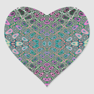 Multicolored Hologram Butterfly Fractal Abstract Heart Sticker