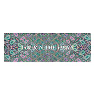 Multicolored Hologram Butterfly Fractal Abstract Name Tag