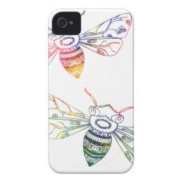 Multicolored Honeybee Doodles iPhone 4 Case