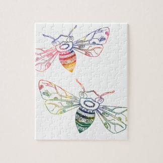 Multicolored Honeybee Doodles Jigsaw Puzzle