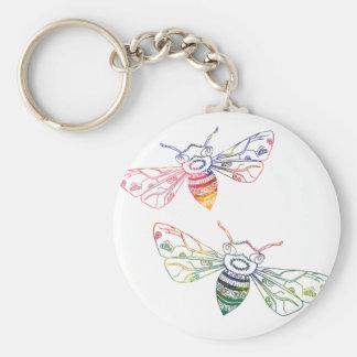 Multicolored Honeybee Doodles Keychain