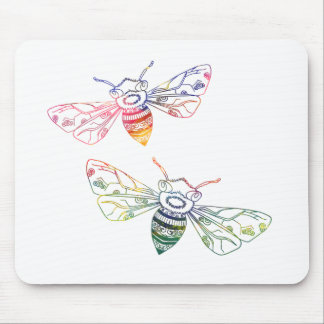 Multicolored Honeybee Doodles Mouse Pad