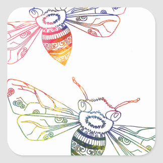 Multicolored Honeybee Doodles Square Sticker