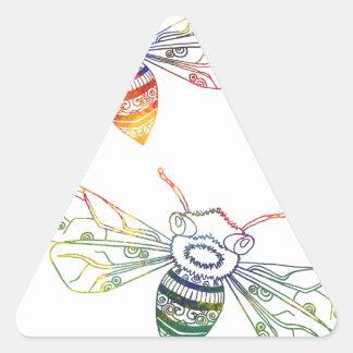Multicolored Honeybee Doodles Triangle Sticker