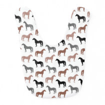 Multicolored Horses Pattern Baby Bib