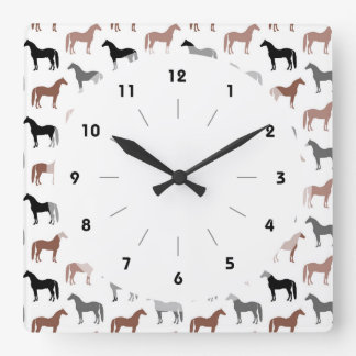 Multicolored Horses Pattern Square Wall Clock
