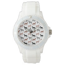 Multicolored Horses Pattern Wrist Watch