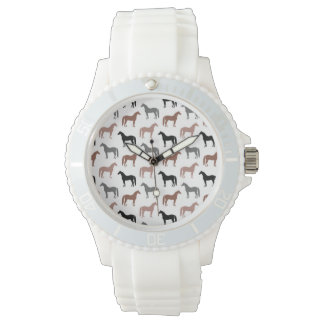 Multicolored Horses Pattern Wrist Watch