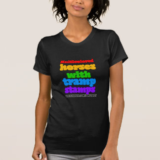 Multicolored Horses With Tramp Stamps Womens T-Shirt