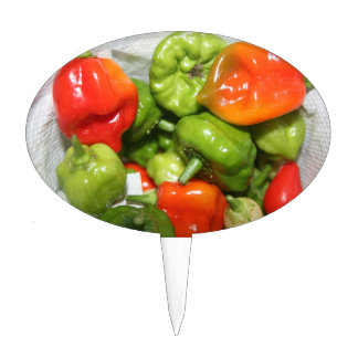 Multicolored hot pepper pile image cake toppers