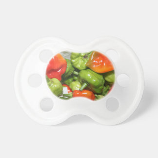 Multicolored hot pepper pile image pacifier