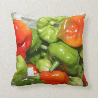 Multicolored hot pepper pile image pillow