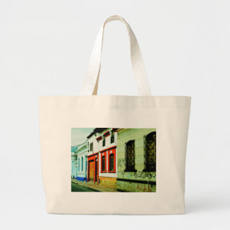 Multicolored houses. large tote bag