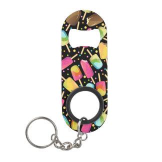 Multicolored ice cream popsicles sprinkles pattern keychain bottle opener