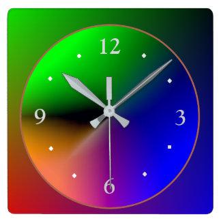 Multicolored Illuminated Design>Colorful Wall Cloc Square Wall Clock
