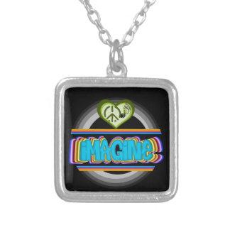 Multicolored imagine circular design silver plated necklace
