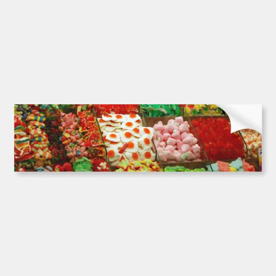 Multicolored-jellies-on-shelfs COLORFUL GUMMY CAND Bumper Sticker