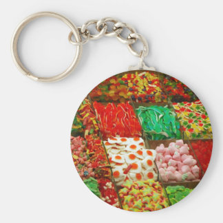 Multicolored-jellies-on-shelfs COLORFUL GUMMY CAND Basic Round Button Keychain